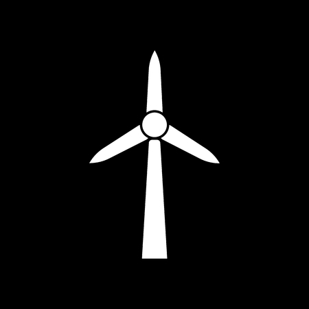 Windmill icon. Power and renewable, generator, ecology symbol. Flat design. Stock - Vector illustration Çizim