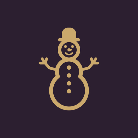 Snowman icon. New year and xmas, christmas, winter symbol. Flat design. Stock - Vector illustration Çizim