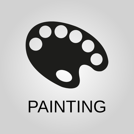 Painting icon. Palette symbol. Flat design. Stock - Vector illustration