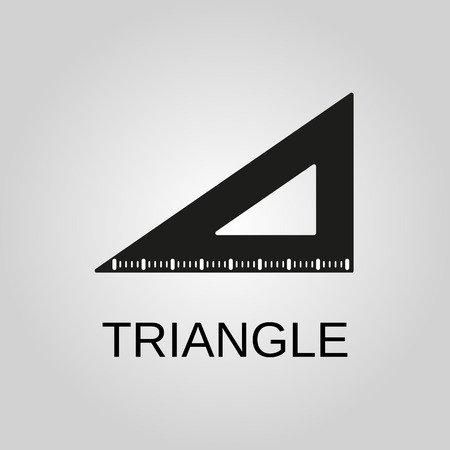 Triangle Ruler icon. Triangle Ruler symbol. Flat design. Stock - Vector illustration
