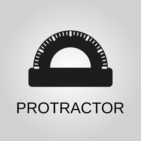 Protractor icon. Protractor symbol. Flat design. Stock - Vector illustration