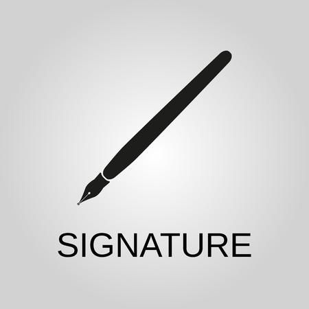 Signature icon. Signature symbol. Flat design. Stock - Vector illustration 일러스트