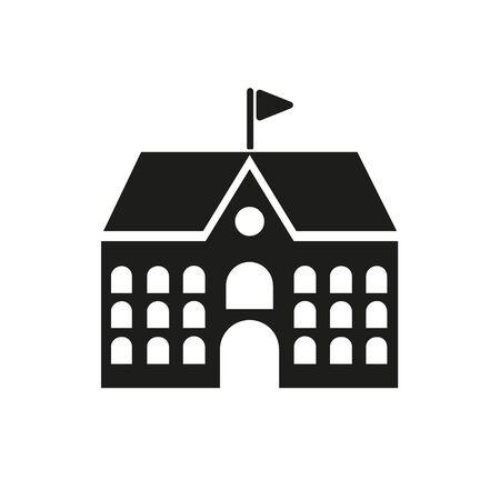 School icon. Campus and university, building symbol. Flat design. Stock - Vector illustration