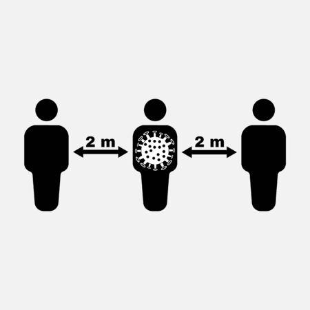 Social distancing icon. Quarantine and epidemic, bacterium, microbiology, pandemic symbol. Flat design. Stock - Vector illustration.