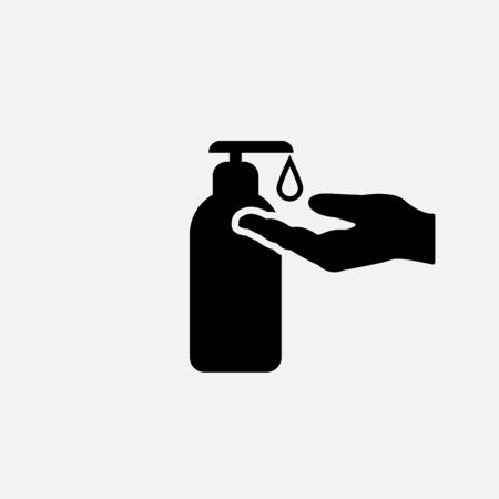 Sanitize icon. Liquid soap symbol. Flat design. Stock - Vector illustration