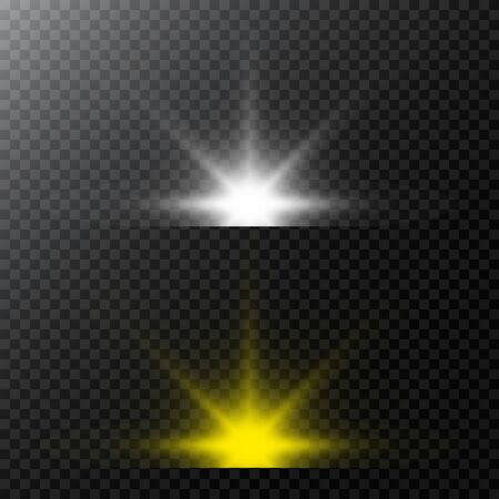 Set of Vector glowing light effect stars bursts with sparkles and flare, explosion on transparent background. Stock - Vector illustration