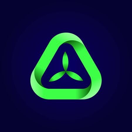 Abstract triangle green leaf logo. Green triangular eco recycle icon. Ecology, technology, bio style templates design. Stock - Vector illustration