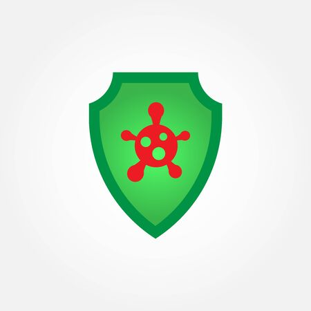 Coronavirus 2019 nCov with shield protection from the virus icon. Virus and epidemic, bacterium, microbiology, pandemic symbol. Flat design. Stock - Vector illustration