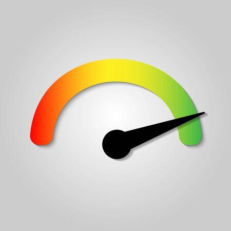 The tachometer, speedometer and indicator icon. Performance measurement symbol. Internet speed test . Stock - Vector illustration