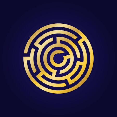 Labyrinth golden icon. Maze and intricacy, confuse symbol. Flat design. Stock - Vector illustration 向量圖像