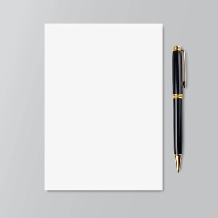 Realistic copybook page with black and gold pen. Mockup. Paper background. Notebook and diary, education, organizer, copybook symbol Stock - Vector illustration