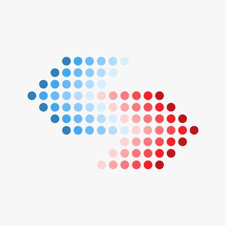 Dot arrow blue and red icon. Halftone effect. Isolated graphic element. Stock - Vector illustration 向量圖像