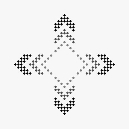 Dot arrow icon. Halftone effect. Isolated graphic element. Stock - Vector illustration