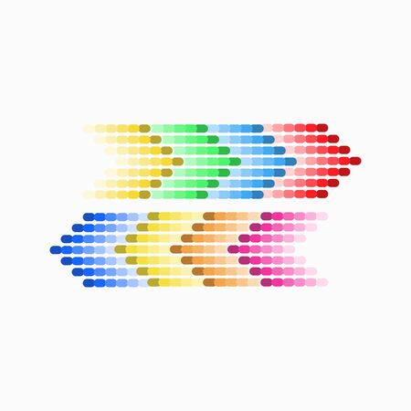 Dot arrow blue and red, yellow, green icon. Halftone effect. Isolated graphic element. Stock - Vector illustration