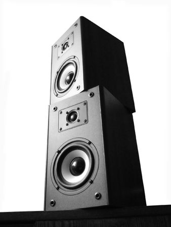 black-white audio speakers on white background