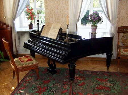 Old piano in beautiful room, old classical style