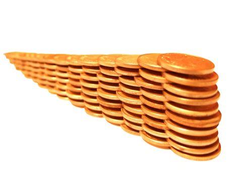 Coin pile of similar golden coins