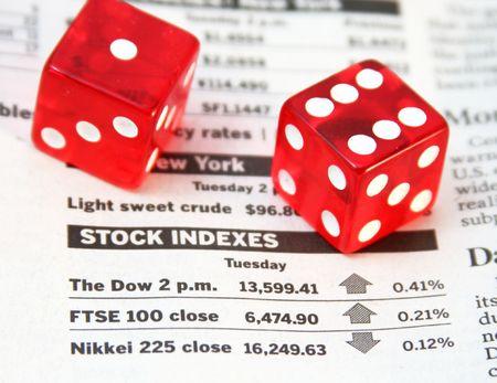 Stock indexes, devil's bones - risk investment concept Standard-Bild