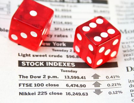 indexes: Stock indexes, devils bones - risk investment concept