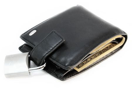 Wallet with a padlock, money security concept