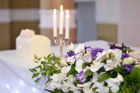 Holiday decoration with flowers and candles
