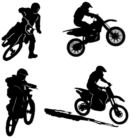 motorbike jumping: set of motorsport riders silhouettes Illustration