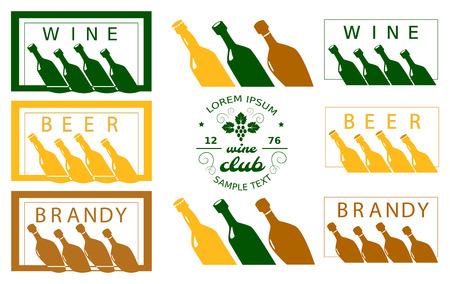 Set of various drinks labels Illustration