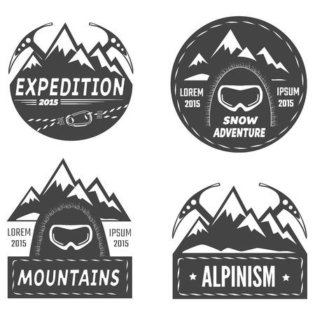 Set of mountain explorer labels