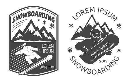 Set of snowboarding labels