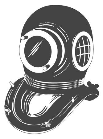Retro style diving helmet Illustration
