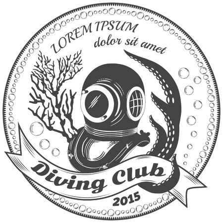 Diving club label Vector