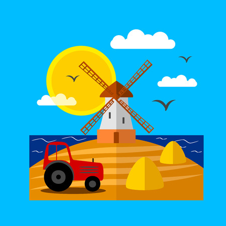 Landscape with windmill Illustration