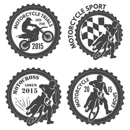 Set of motorcycle sports labels