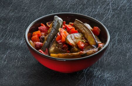 Eggplants with pepper, onion, garlic and soy sauce chinese recipe