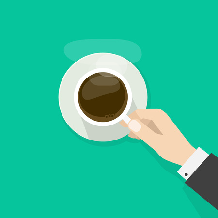 break: Hand holding hot coffee cup with steam on plate, business person want to drink coffee, break morning time banner concept, elegant flat cartoon design illustration isolated on green background Illustration