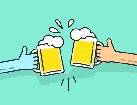 event party: Two abstract hands holding beer glasses, beer glasses foam clinking, friends toasting, concept of cheering people party celebration in pub, flat outline art line design vector illustration isolated