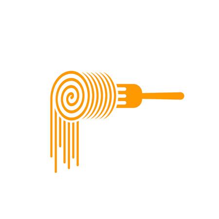 Pasta vector logo tenedor, tenedor con el símbolo de rodillo de las pastas, el concepto de fideos de marca, comida, culinaria identidad moderna de moda, diseño de logotipo de pasta plana aislada en el fondo blanco