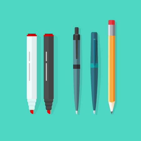 Pens, pencil, markers vector set isolated on green background, ballpoint pens, lead orange dot pen with red rubber eraser, flat biro pen and pencils, stationery set cartoon illustration design Illustration