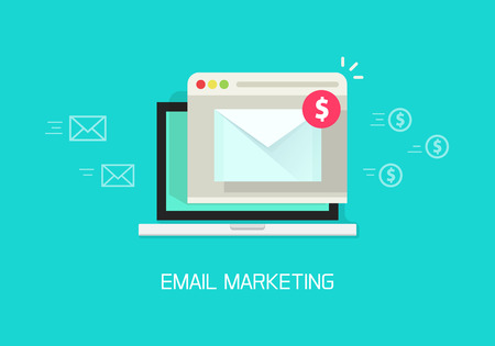 email: Email marketing vector illustration concept, laptop computer email with browser window, internet digital letter, communication, flat cartoon banner element design isolated on blue background