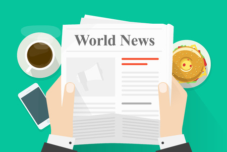 newspaper headline: Business man hands holding newspaper with world news words headline, abstract text and photo, coffee break, lunch, breakfast, news paper modern design illustration isolated on green background
