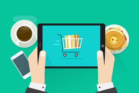 Two hands holding tablet computer device illustration, breakfast top view concept, abstract table with fast food, coffee cup, mobile phone, burger, flat cartoon design isolated on green Vettoriali