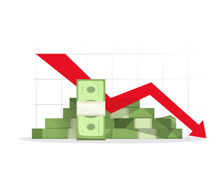 moving down: Pile of cash red recession graph with downward arrow illustration, concept of business failure, financial depression diagram, reaching down, analytics, bad report symbol, isolated on white sign Illustration