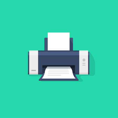 printed machine: Printer flat icon with shadow, printer with paper a4 sheet and printed abstract text document out of printer machine illustration isolated on green background Illustration
