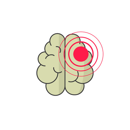 Abstract human brain injury stroke cartoon illustration with red dot waves, concept of medical , brain illness symbol, disease scan, cancer flat design isolated on white background