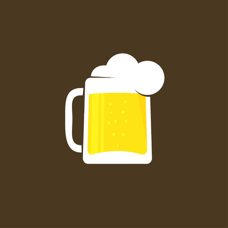 stein: White beer glass with foam  template, concept of pub , beer drink bar symbol, abstract pub sing, beer mug flat icon, trendy design illustration isolated on black brown background