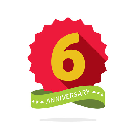 6th: 6th anniversary badge with shadow on red starburst and yellow number 6, six years anniversary icon. Sixth years symbol, sticker ribbon, emblem