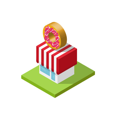 bakery store: 3d isometric store vector illustration, donuts shop cartoon simple minimal isometry cubical geometric style, bakery cafe building design element isolated on white background