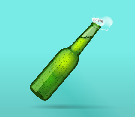 Beer bottle open, full green wet bottle opened flying cap, bubbles, smoke, cold bottle of mineral water steam effect, drops, soda, lemonade fresh realistic vector illustration design isolated on blue