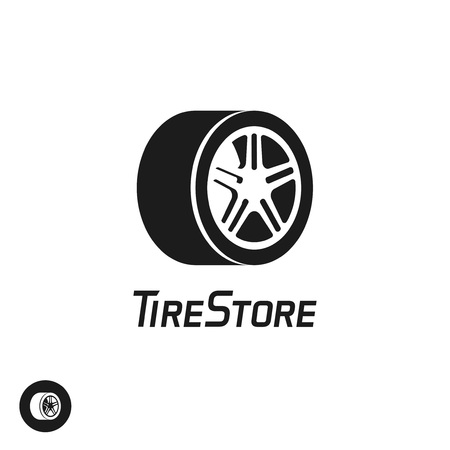 simple store: Tire store vector logo template isolated on white background, black and white abstract wheel with disk symbol, flat simple icon design, creative emblem, trendy brand sign Illustration