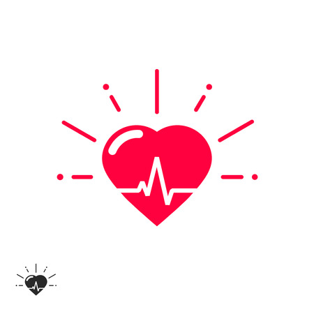 good cheer: Heart beat vector icon with cheering rays, good healthy heart shape with beat line inside flat cartoon illustration design isolated on white background